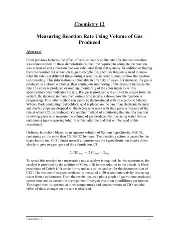 measuring reaction rate using volume of