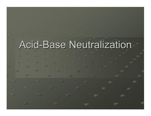 Acid Base Neutralization