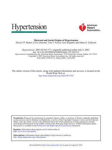 David JP Barker, Clive Osmond, Tom J. Forsen, Eero ... - Hypertension