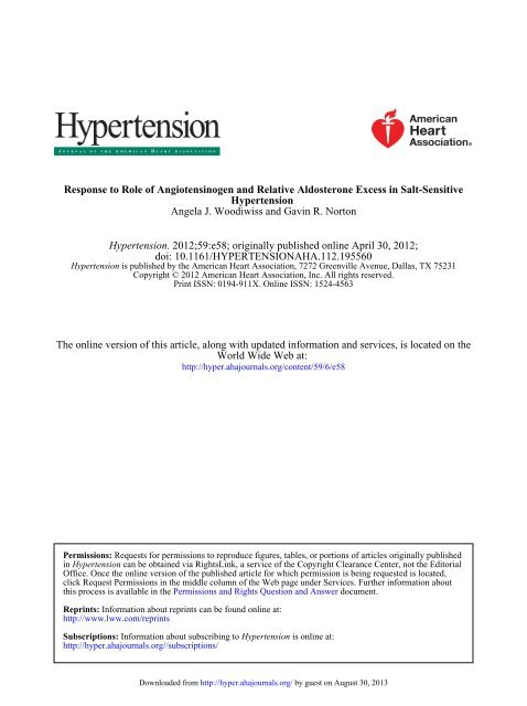 Letter to the Editor - Hypertension