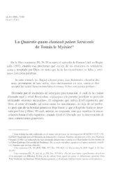 La Quaestio quam clamauitpalam Saracenis de Tomas le Myesier*
