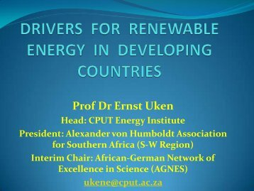 drivers for renewable energy in developing countries - DAAD