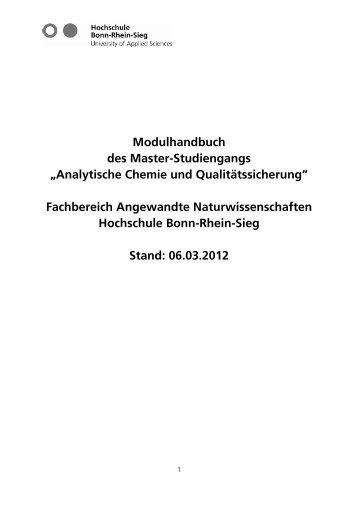 Modulhandbuch - Fachbereich Angewandte Naturwissenschaften ...