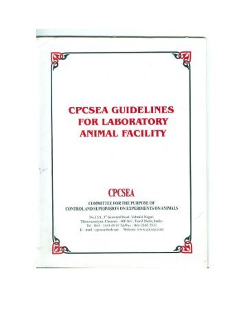 CPCSEA Guidelines for Laboratory Animal Facility - Indian Council ...