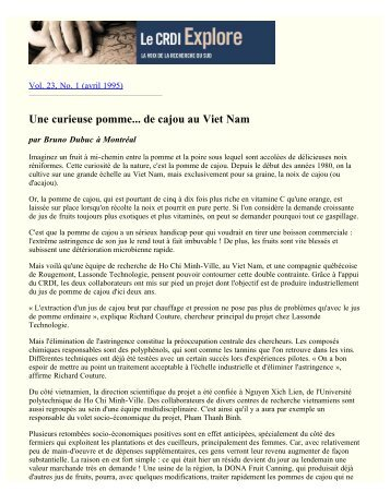 Les technologies vertes (v. 23, no. 1, avril 1995)