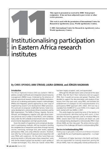 Institutionalising participation in Eastern Africa ... - IDL-BNC @ IDRC