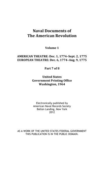 Naval Documents of The American Revolution, Volume 1 ... - Ibiblio