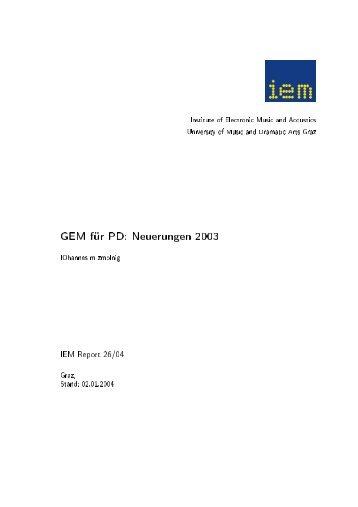 IEMreport 26 - Institut für Elektronische Musik und Akustik - IEM