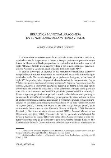 Heráldica municipal aragonesa en el nobiliario de Don Pedro Vitales