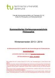 Wintersemester 2013 / 2014 - FK14 - Philo & Politik - TU Dortmund