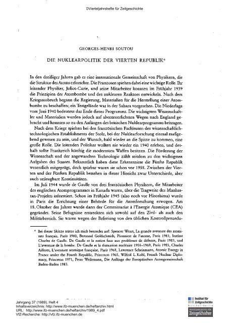 Die Nuklearpolitik der Vierten Republik - Institut für Zeitgeschichte