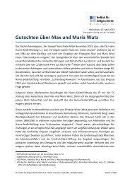 Gutachten über Max und Maria Wutz - Institut für Zeitgeschichte