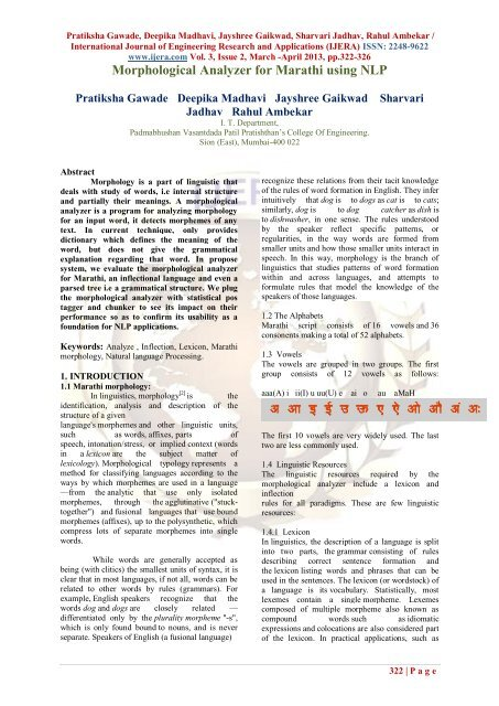 Morphological Analyzer for Marathi using NLP - Ijera com
