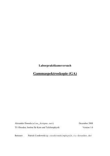 Gammaspektroskopie (GA) - Institut für Kern- und Teilchenphysik