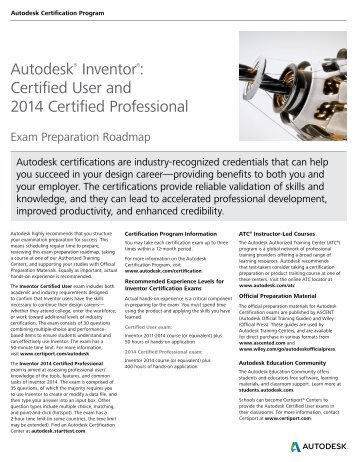 Autodesk® Inventor®: Certified User and 2014 Certified Professional