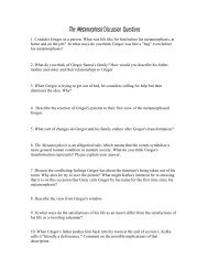 The Metamorphosis Discussion Questions