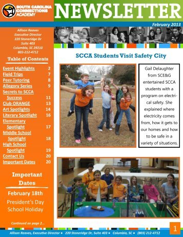 SCCA Students Visit Safety City Important Dates February 18th ...