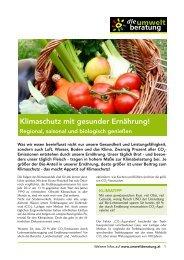 Klimaschutz mit gesunder Ernährung! - umweltberatung