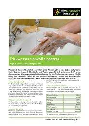 Trinkwasser sinnvoll einsetzen! - umweltberatung
