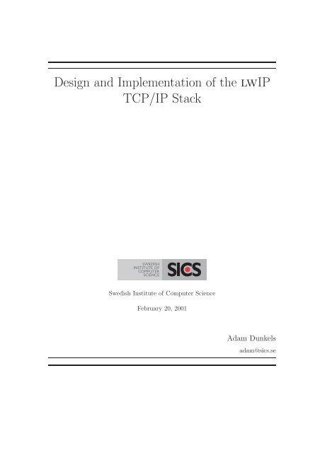 lwIP - A Minimal TCP/IP implementation - Wikia