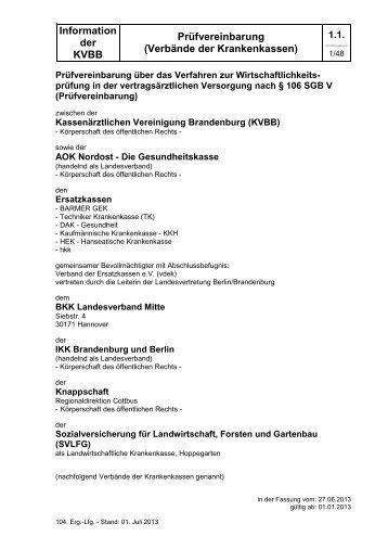Prüfvereinbarung - Kassenärztlichen Vereinigung Brandenburg