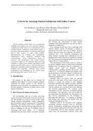 Criteria for Assessing Student Satisfaction with Online Courses