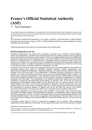 France's Official Statistical Authority (ASP) - Insee