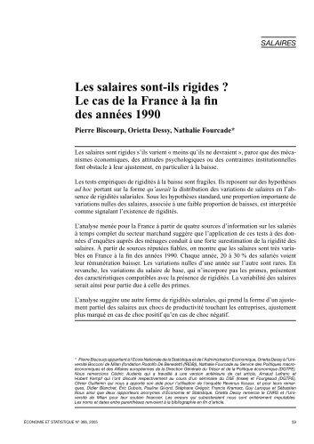 Les salaires sont-ils rigides ? Le cas de la France à la fin des ... - Insee