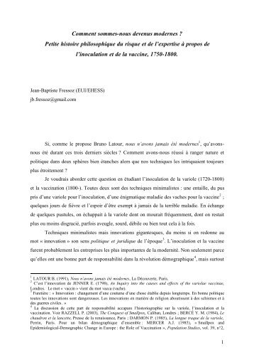 Petite histoire philosophique du risque et de l'expertise à ... - Insee