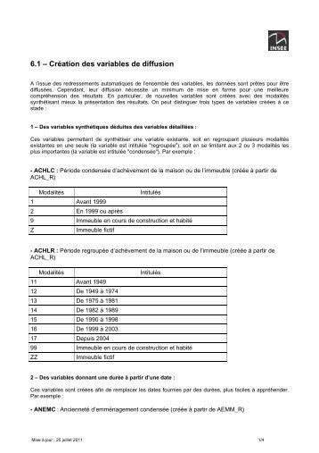 6.1 – Création des variables de diffusion - Insee
