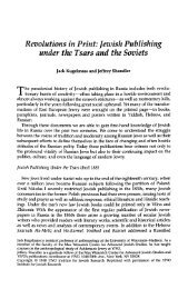 Revolutions in print: Jewish Publishing under the Tsars and the ...