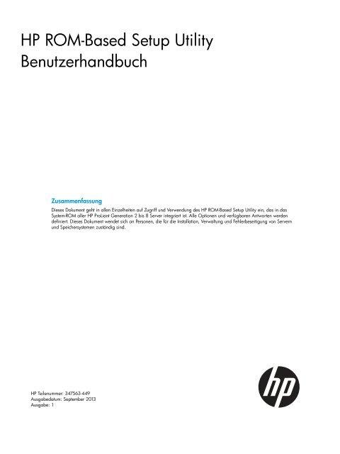 HP ROM-Based Setup Utility Benutzerhandbuch - Hewlett Packard