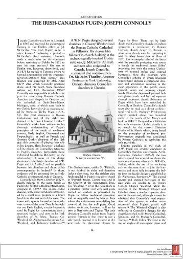 THE IRISH-CANADIAN PUGIN: JOSEPH CONNOLLY