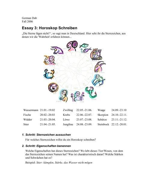 Essay 3: Horoskop Schreiben - iSites