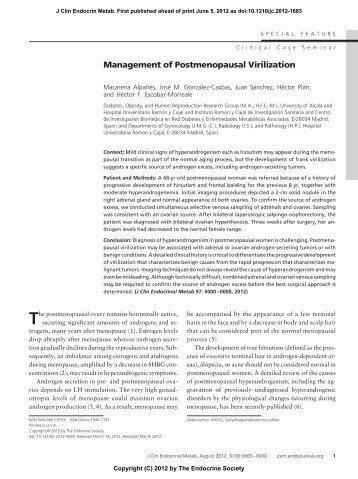 Management of Postmenopausal Virilization - The Journal of ...
