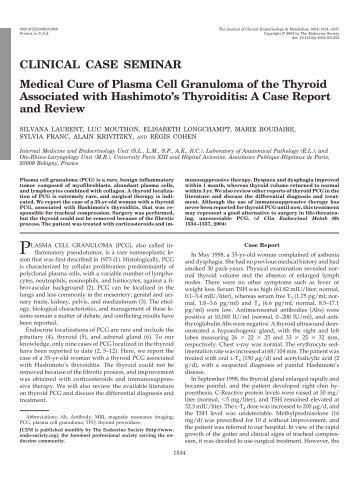 CLINICAL CASE SEMINAR Medical Cure of Plasma Cell Granuloma ...