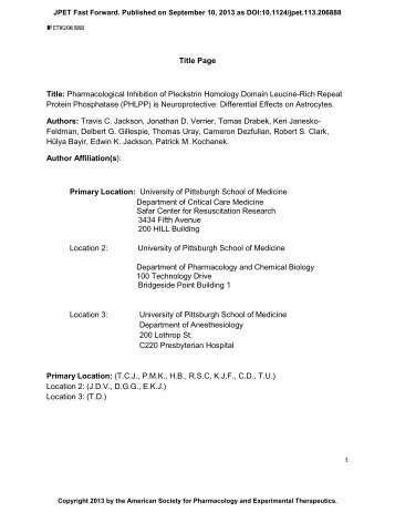 Title Page Title: Pharmacological Inhibition of Pleckstrin Homology ...