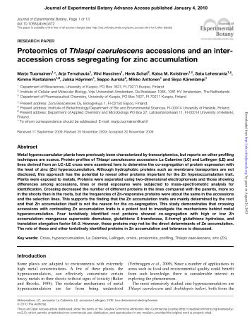 Proteomics of Thlaspi caerulescens accessions and an inter ...