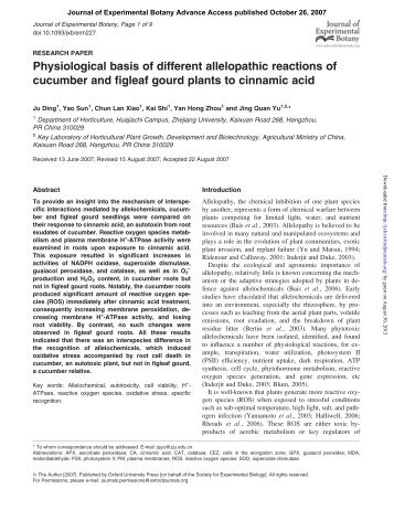 Physiological basis of different allelopathic reactions of cucumber ...