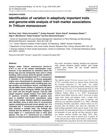 Identification of variation in adaptively important traits - Journal of ...