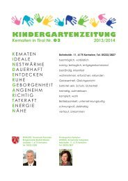 KINDERGARTENZEITUNG - Gemeinde Kematen in Tirol