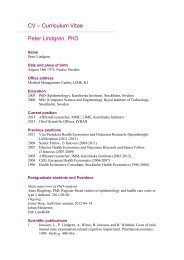 CV – Curriculum Vitae Peter Lindgren, PhD - Karolinska Institutet