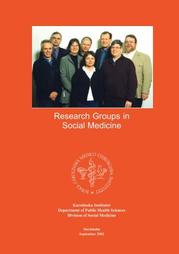 Research Groups in Social Medicine - Karolinska Institutet