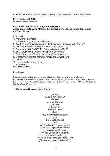 Newsletter 3/13 - Fachbereich Kindertagesstätten - Zentrum Bildung