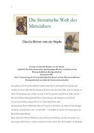 Die literarische Welt des Mittelalters - KOBRA - Universität Kassel