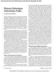 Sharon Sabotages Palestinian Talks