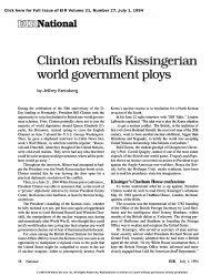 Clinton Rebuffs Kissingerian World Government Ploys - Executive ...