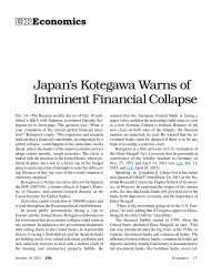 Japan's Kotegawa Warns of Imminent Financial Collapse