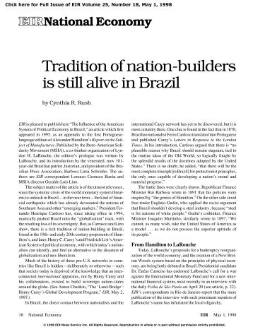 Tradition of nation-builders is still alive in Brazil
