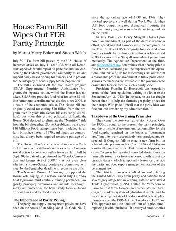 House Farm Bill Wipes Out FDR Parity Principle